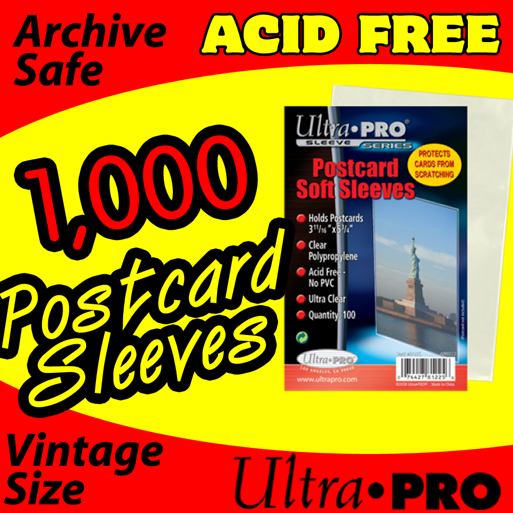 Ultra Pro Soft Postcard Sleeves -1000- USA ONLY